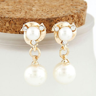 Gold Color Simple Pearl Design Alloy Stud Earrings