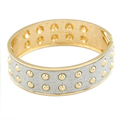 Physical Silver Color Double Layer Rivet Design Alloy Fashion Bangles