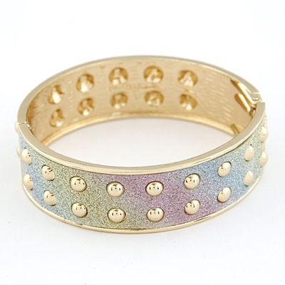 Pagan Multicolor Double Layer Rivet Design Alloy Fashion Bangles