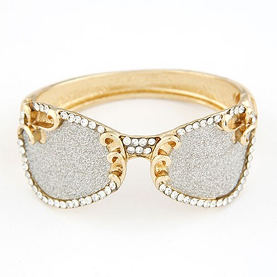Huge Silver Color Glasses Shape Design Alloy Fashion Bangles