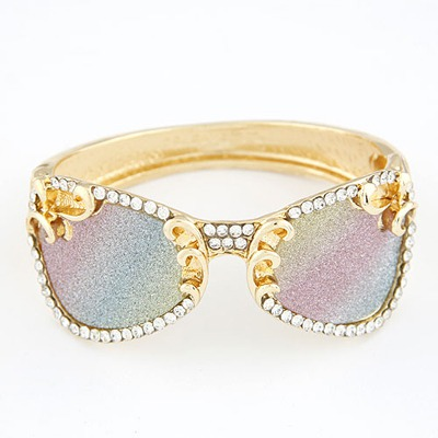 Funky Multicolor Glasses Shape Design Alloy Fashion Bangles