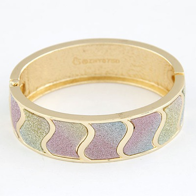 Fused Multicolor Waves Pattern Design Alloy Fashion Bangles
