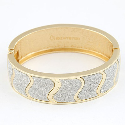 Medieval Silver Color Waves Pattern Design Alloy Fashion Bangles