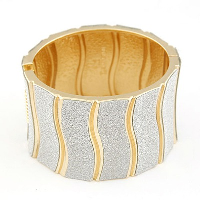 Stronglite Silver Color Waves Pattern Design Alloy Fashion Bangles