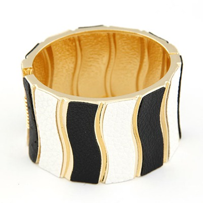 Glueless Black And White Waves Pattern Design Alloy Fashion Bangles