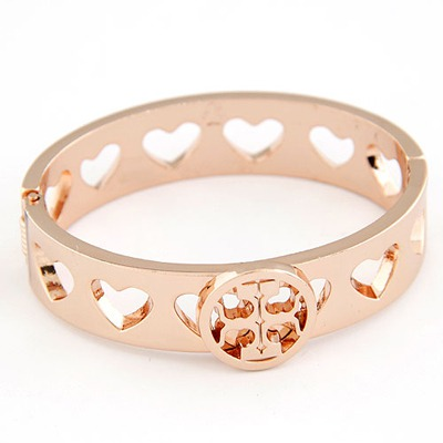 Sanctuary Champagne Hollow Out Heart Design Rose Gold Fashion Bangles