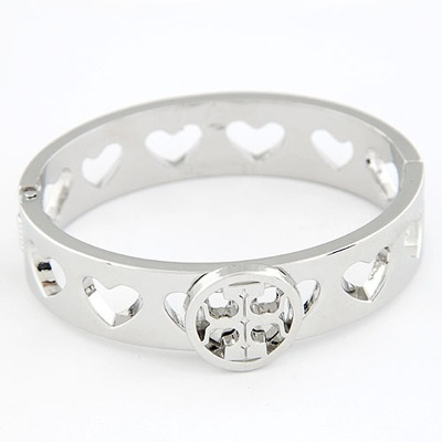 Charm Silver Color Hollow Out Heart Design Alloy Fashion Bangles