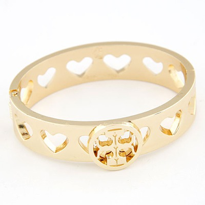 Hemp Gold Color Hollow Out Heart Design Alloy Fashion Bangles
