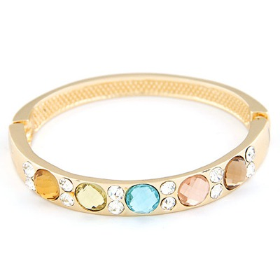 Aluminium Gold Color Gemstone Decorated Design Alloy Fashion Bangles
