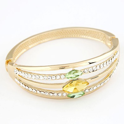 Street Gold Color Hollow Arc-Shaped Design Alloy Fashion Bangles