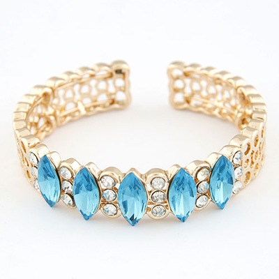 Rubber Blue Gemstone Decorated Open Design Alloy Fashion Bangles