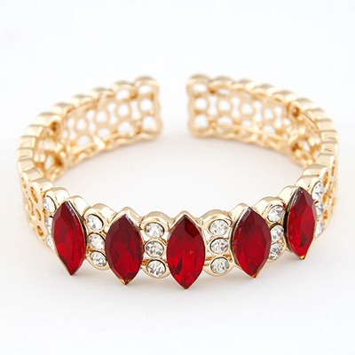 Classical Claret-Red Gemstone Decorated Open Design Alloy Fashion Bangles