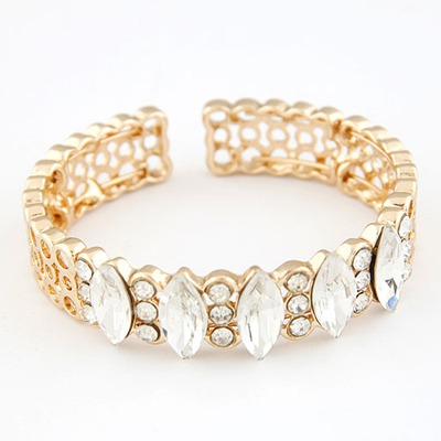 Sweet White Gemstone Decorated Open Design Alloy Fashion Bangles