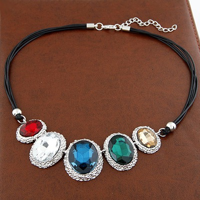 Softshell Multicolor Oval Pendant Design Alloy Bib Necklaces