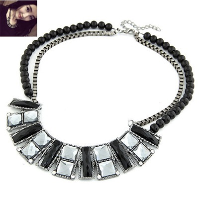 Satchel Antique Geometric Double Layer Design Alloy Bib Necklaces