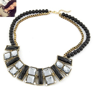 Infinity Bronze Geometric Double Layer Design Alloy Beaded Necklaces