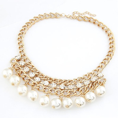 Slim Gold Color Pearl Weave Collar Design Alloy Bib Necklaces