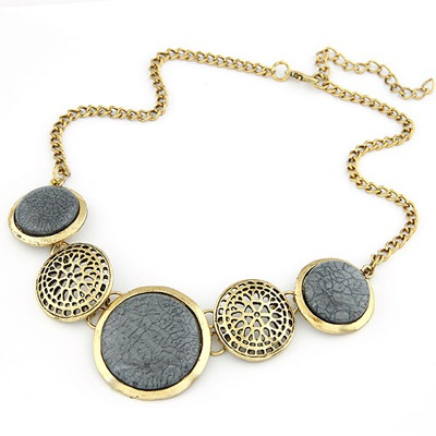Asian Bronze Round Gemstone Decorated Design Alloy Bib Necklaces