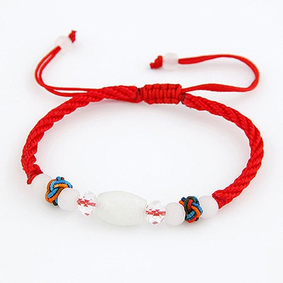 Inspired Red Lucky Beads Decorated Simple Design Jade Korean Fashion Bracelet