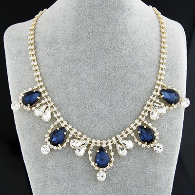 Funky Sapphire Gemstone Decorated Simple Design Alloy Bib Necklaces