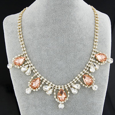 Drawstring Champagne Gemstone Decorated Simple Design Alloy Bib Necklaces