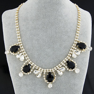 Lariat Black Gemstone Decorated Simple Design Alloy Bib Necklaces
