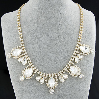 Current White Gemstone Decorated Simple Design Alloy Bib Necklaces