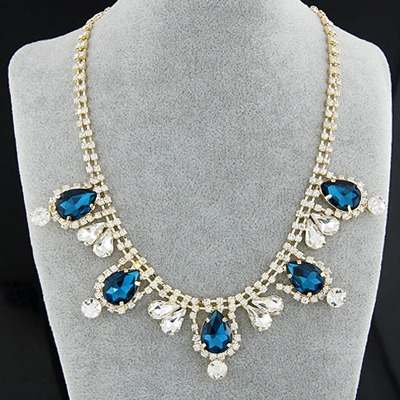Noble Navy Blue Gemstone Decorated Simple Design Alloy Bib Necklaces