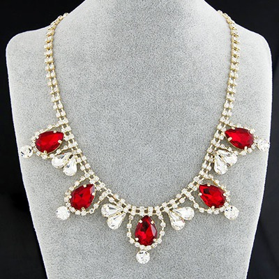 Physical Claret-Red Gemstone Decorated Simple Design Alloy Bib Necklaces