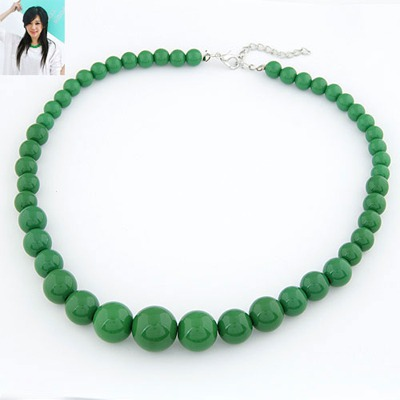Flirty Green Pure Color Simple Design Rosin Beaded Necklaces