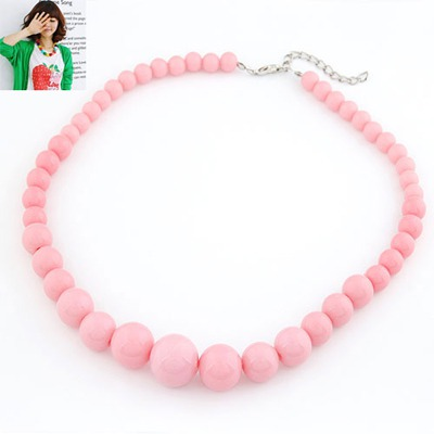 Cherokee Pink Pure Color Simple Design Rosin Beaded Necklaces