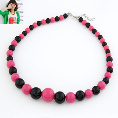 Collar Plum red And Black Two Color Simple Design Rosin Bib Necklaces