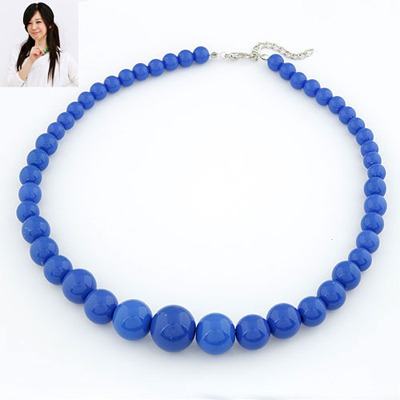 Pleated Blue Pure Color Simple Design Rosin Beaded Necklaces