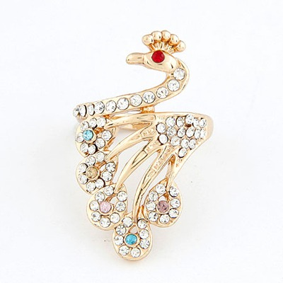 Invitation Gold Color Peacock Shape Design Alloy Korean Rings