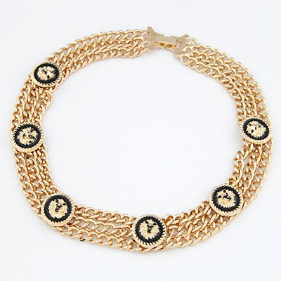 Petite Gold Color Lion Head Decorated Design Alloy Chains