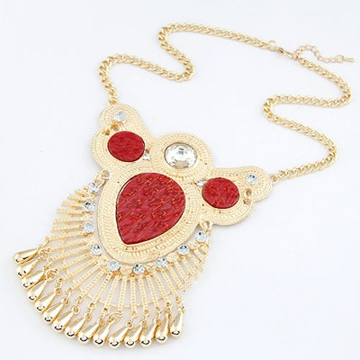 Antique Red Water Drop Tassel Design Alloy Bib Necklaces