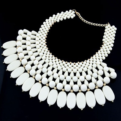 Noble White Beads Weave Multilayer Design Alloy Bib Necklaces