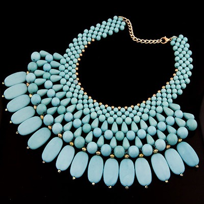 Letterhead Blue Beads Weave Multilayer Design Alloy Bib Necklaces
