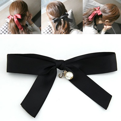 Monogram Black Big Bowknot Design Ribbon Hair clip hair claw
