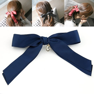 High Quali Navy Blue Big Bowknot Design Ribbon Hair clip hair claw