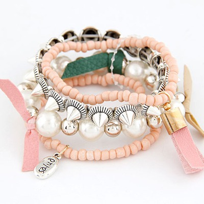 Fishing Light Pink Multilayer Design Measle Korean Fashion Bracelet