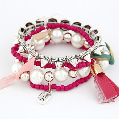 Varsity Rose Red Multilayer Design Measle Korean Fashion Bracelet