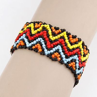 Fine Multicolor Beads Weave Design Measle Korean Fashion Bracelet