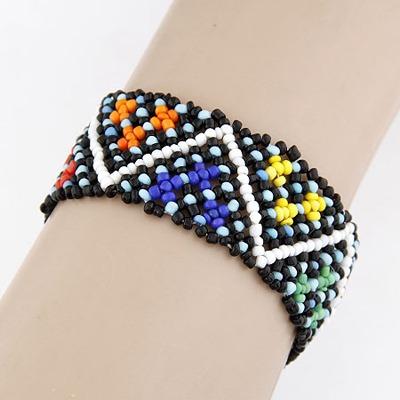 Aluminium Multicolor Beads Weave Design Measle Korean Fashion Bracelet