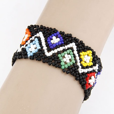Patagonia Multicolor Beads Weave Design Measle Korean Fashion Bracelet
