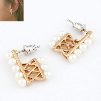 Vera White Square Pearl Design Alloy Stud Earrings