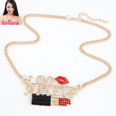 Flamenco Red Lipstick & Sexy Lip Design Alloy Bib Necklaces