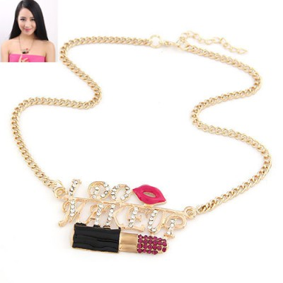 Costume Plum Red Lipstick & Sexy Lip Design Alloy Bib Necklaces