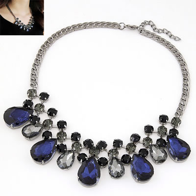 Initial Sapphire Gemstone Decorated Water Drop Design Alloy Bib Necklaces