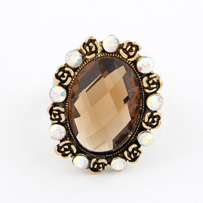 Define Coffee Oval Shape  Design Alloy Korean Rings